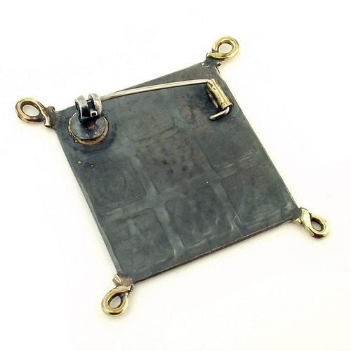 Small Square Oxidised Silver Brooch